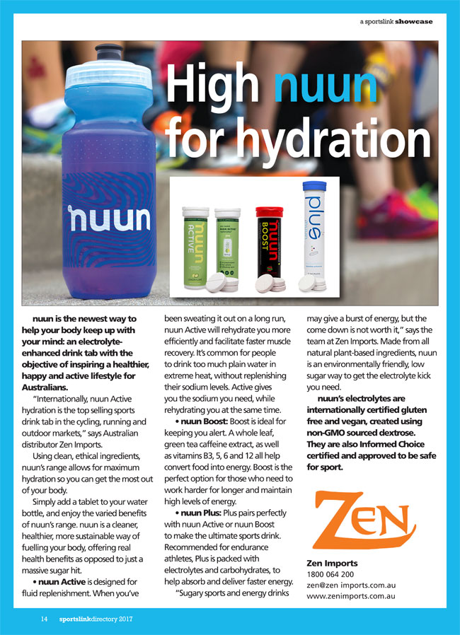High nuun for hydration by Zen Imports in West Ryde NSW