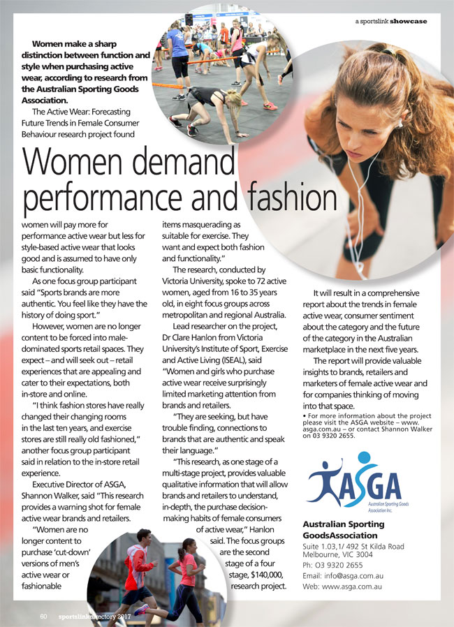 Women demand performance and fashion